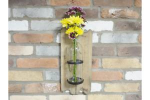 Wall Vase Flower Holder Reclaimed wood & Glass New
