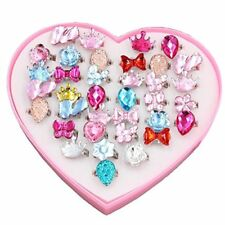 24 Pcs Little Girls Crystal Adjustable Rings Princess Dress up Play Jewelry Toys