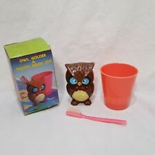 "Vintage Owl Holder Tooth Brush Cup Toothbrush Set Hong Kong 3"" Child"
