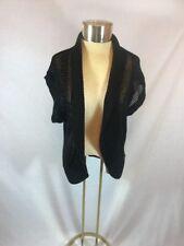 Women's Black Faded Glory Open Front Weave Knit Crochet Cardigan Short Sleeve M
