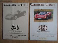 Automobili Coste ORIG c1996 francese Mkt opuscolo informativo Pack-RARE KIT CAR