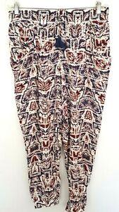 WITCHERY Ladies Designer Blue/Red Print Loose Leg Jogger Pants size 10 EUC