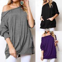 UK Women Long Sleeve Hoodie Casual Loose Tops Sweatshirts Pullover Jumper Blouse