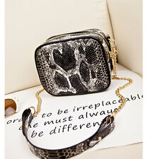 Snake Skin Pu Synthetic leather Chain Crossbody Bags For Girl Summer Style 2016