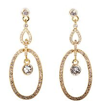 Earrings Gold Authentic New 7329a Swarovski Elements Crystal Oval Loops Pierced