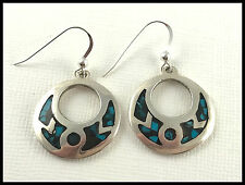 VINTAGE .925 Sterling Silver & Turquoise Inlay Wreath Earrings, Wires - Mexico