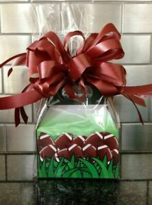 Football Candy / Goodies Gift Box-Basket Wrapped With Bow & Card