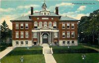 Union City Pennsylvania~High School~Grecian Flower Urns on Lawn~In Woods~1908 PC