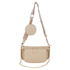 Embossed Texture Ladies Trio Check Bag Shoulder Cross Body Purse Handbag 1888L