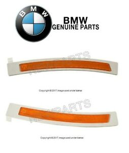 For BMW F02 7-Series Pair Set of 2 Front Reflectors-Bumper Cover Yellow Genuine