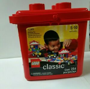 VTG Lego Classic Red Plastic Bucket w/254 Bricks #4285 Ages 5-10 New Sealed NOS