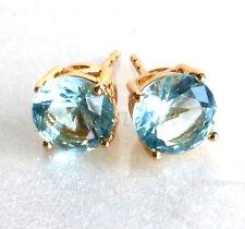 18K Gold Plated Aqua Light Blue Simulated Diamond Men Stud Earrings 7mm