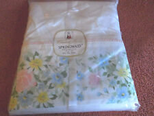"Vintage SPRINGMAID Floral ""Morning Garden"" Pink Blue Twin Flat Sheet-NEW in Pkg!"