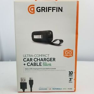 Griffin Ultra-Compact Car Charger w/ 3' Cable Micro USB Samsung LG Motorola HTC