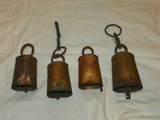 Antique Vintage 4 Hand Forged Cow Goat Bells Primitive Barn