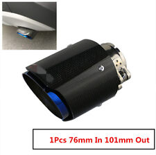 "1 X IN3.0"" 76MM OUT: 4.0"" 101MM AKRAPOVIC Exhaust Tip Muffler Pipe Carbon Fiber"