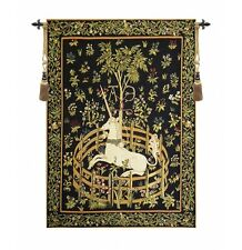 """MEDIEVAL TAPESTRY WALL HANGING UNICORN IN CAPTIVITY 25""""x18"""""""
