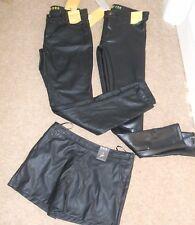 PRIMARK SIZE 4 6 8 10 12 14 16 18 20 BLACK FAUX LEATHER LOOK PVC TROUSERS SHORTS