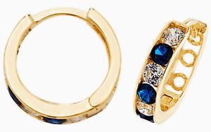 9CT GOLD  EARRINGS SAPPHIRE DIAMOND  HOOP 9 CARAT YELLOW GOLD