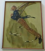RICHARD SPEAR PAINTING AFTER ROCKWELL UNCLE SAM AVIATION FLIGHT PLANES VINTAGE