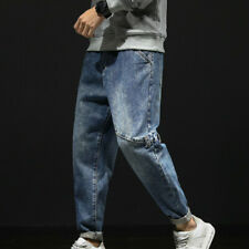 Men Denim Cargo Pants Classic Harem Jeans Tapered Trousers Hip Hop Joggers New