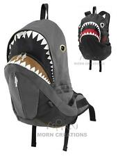SHARK Backpack with Rain Cover Morn Creations Great White jaws bag DARK GREY