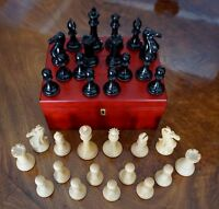 A Very Fine Ebony And Boxwood Vintage Staunton Chess Set In Deluxe Staunton Box