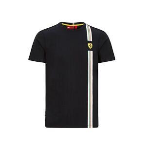 Scuderia Ferrari F1 Men's Italian Flag Fan t-shirt -  2020/21  Black - Clearance