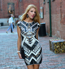 HOLIDAYS!   $108   ULTRA SEXY BLACK/GOLD SEQUIN EMBELLISHED DRESS!    SZ S   NWT