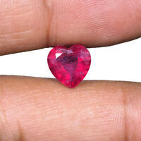 2.80 Cts Natural Ruby 8.92mm Heart Cut Pigeon Blood Red Finest Quality Gemstone