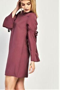 Womens Shift Dress Long Tie-up Sleeve detail Plum NEW Plus Sizes 6-8-10-12-14-16