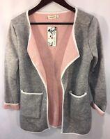 NEW Women's Medium Sweater Jacket Open Front Wool Blend Gray Pink Pockets