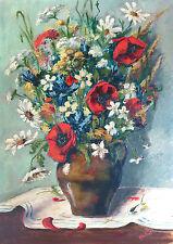 BICHOT, tableau ancien,bouquet de fleurs, coquelicot, pavot, CADRE MONTPARNASSE