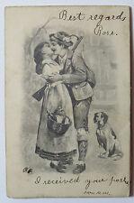 Vintage Accordion Flower Design Postcard Hunter Woman Dog