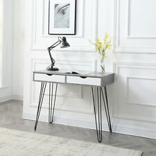 NEW Modern Grey Computer Writing Desk with sturdy legs and storage drawers