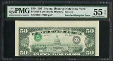 FR2125-B $50 1993 FRN NEW YORK INVERTED OVPT ERROR PMG 55 EPQ ABOUT UNC WLM3390