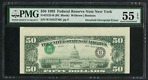 FR2125-B $50 1993 FRN NEW YORK INVERTED OVPT ERROR PMG 55 EPQ ABOUT UNC WLM3390