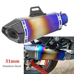 51mm Motorcycle Stainless Steel Hexagon Exhaust Pipe Retrofit Muffler Universal