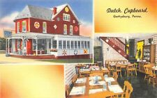 Gettysburg Pennsylvania 1940s Linen Postcard Dutch Cupboard Restaurant
