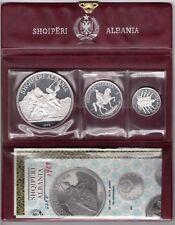 ALBANIA SILVER PROOF 3 DIF COINS SET 5 - 25 LEK 1969 YEAR PSA4 COA+BOX MIN 1500