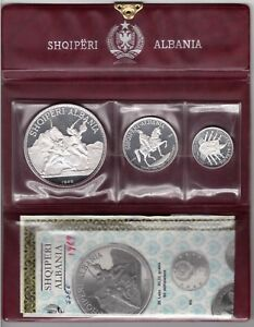 ALBANIA SILVER PROOF 3 DIF COINS SET 5 - 25 LEK 1969 YEAR PSA4 COA BOX MINT 1500
