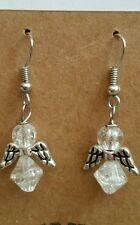 "1.5"" Handmade Plated Silver White Crackled Glass Beaded Angel Earring Set"