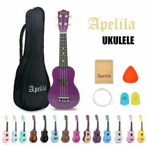 21 Inch Soprano Ukulele Hawaii Wood Beginner Kids Bundle Kit Gig Bag Strings Set