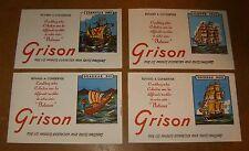 4 buvards - GRISON série Bateaux - années 50 - CARAVELLE + DRAKKAR + CLIPPER...