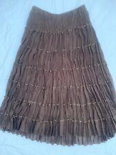 Allison Taylor Brown Skirt L Tiered Broomstick Crinkle Beads Elastic Waist Lined
