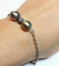 10mm Grey black Tahitian Pearl and .2ctw diamond pave ball 925 chain bracelet