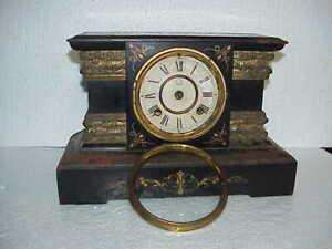 Antique New Haven Cast Iron 8 Day T&S Black Mantle Clock parts repair D