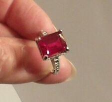 Certified AAA+ Natural 7.85ct Burma Red Ruby emerald cut Ring Sterling Size 7