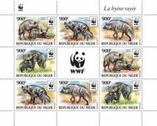 More details for niger wild animals stamps 2015 mnh striped hyena wwf hyenas 8v m/s
