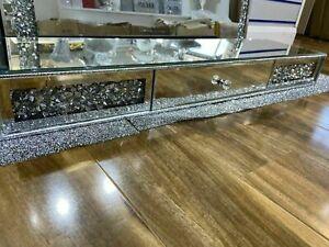 Large Silver Crushed Crystal Diamond Floating Shelf With Drawer NEW UK